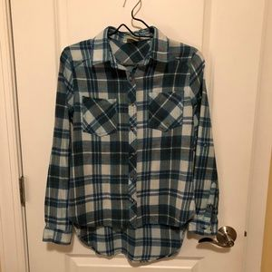 Passport Long Sleeve High/Low Plaid Shirt - Size:S
